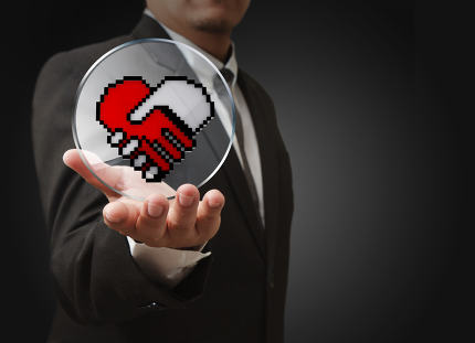 pixel hand shake heart shaped symbol as medical technology conce