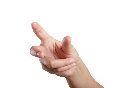 Woman hand touching virtual screen