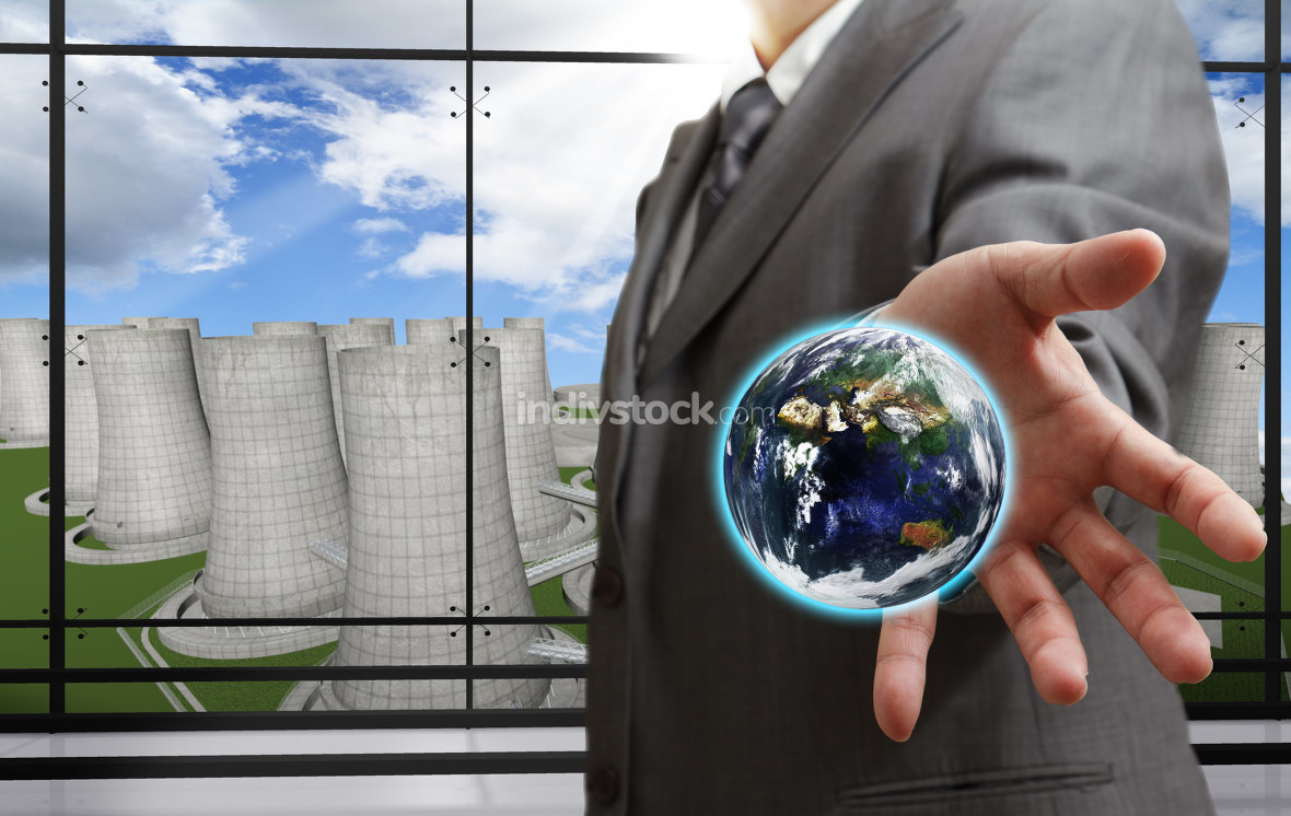 business man shows the earth