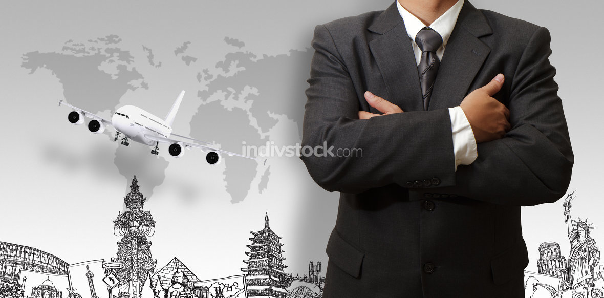 businessman and the dream travel around the world