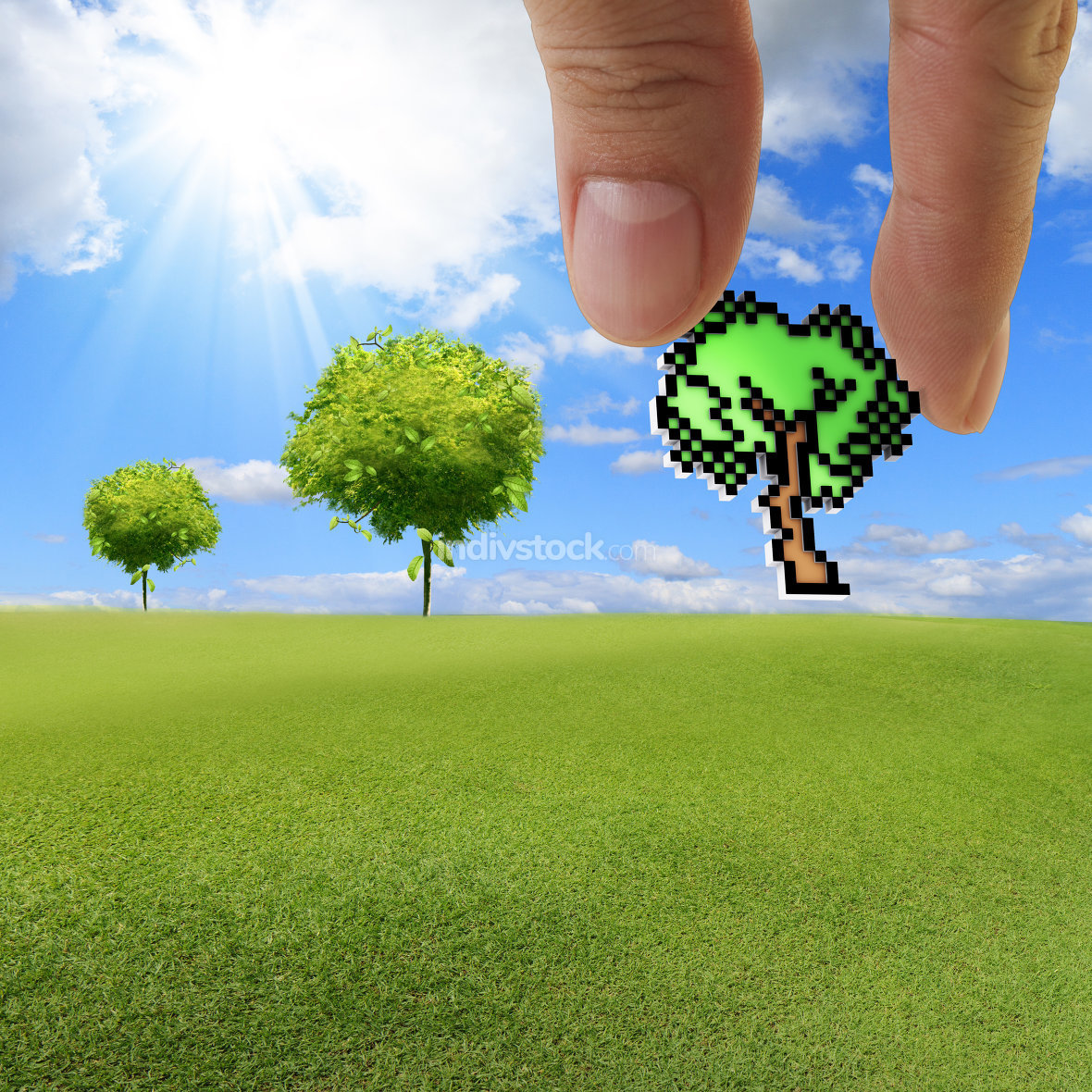 hand picks pixel tree icon